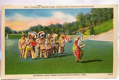 1940s POSTCARD CHEROKEE INDIANS DOING EAGLE DANCE ON RESERVATIONS,GREAT SMOKY MT