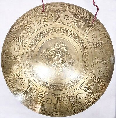 """F1057 HUGE ARTISTIC HAND CRAFTED HIMALAYAN TIBETAN TEMPLE GONG 22"""" Made in Nepal"""