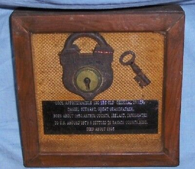 Antique 19th Century Steel & Brass Padlock with Key Family Heirloom in Shadowbox