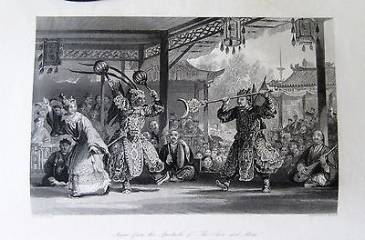 1845 ALLOM CHINA lot 8 antique prints Empire #10 Sun Moon Puppets Juggler Punish