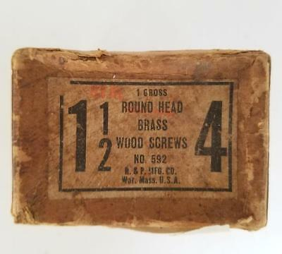 """75 Vintage #4 -- 1 1/2"""" Oval Head Brass Slotted Wood Screws NOS Box"""