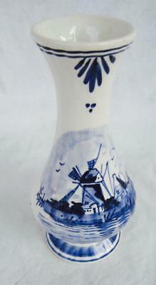 "DeWit Delftware Bud Vase Blue and White Holland 5.5"" Handpainted Signed Modern"
