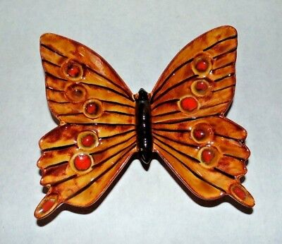 Mid Century Vintage Ceramic Art Pottery Butterfly Dish Brown Orange Gold B2