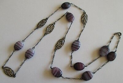 Antique Art Nouveau French Hallmark Silver Link Cattail Art Glass Chain Necklace