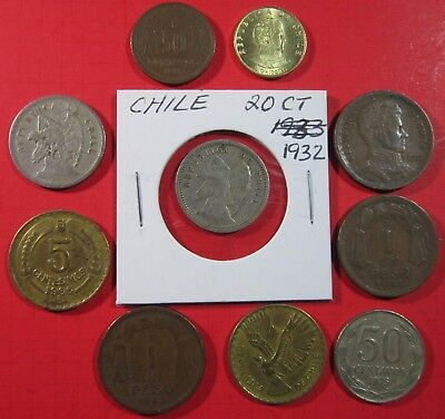 Chile. Vintage Lot Of 10 Assorted Coins. See Pics