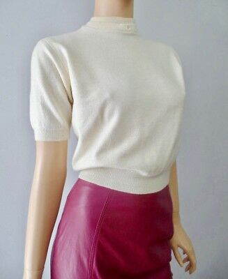 Vintage 50s Rockabilly Cropped Acrylic Off White SS Sweater S