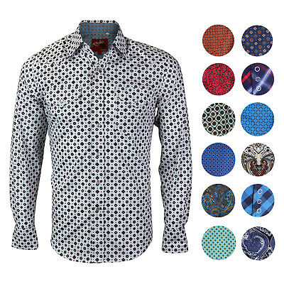 Rodeo Clothing Men's Western Cowboy Pearl Snap Long Sleeve Cotton Dress Shirt