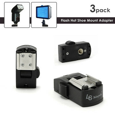 3-Pack Camera Flash Hot Shoe Mount Adapters with 1/4 Female Thread, Button Lock