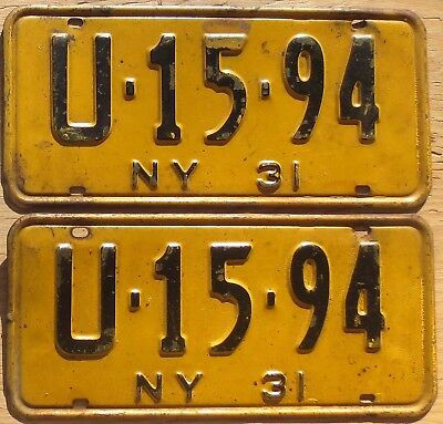 1931 New York License Plates Number Tag Pair Plate