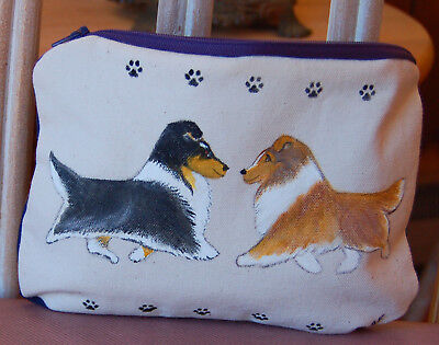Sheltie Hand Painted Make Up Cosmetic Bag~ New~ Ooak