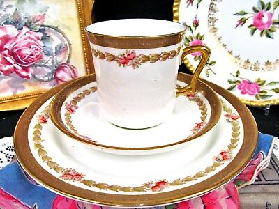 Sutherland Tea Cup And Saucer Trio Painted Cabbage Rose & Gold Etched Teacup