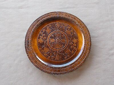 """Beautiful vintage hand carved and decorated Polish wooden artisan plate 11 1/2"""""""