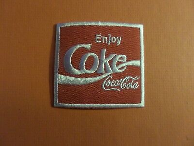ENJOY COKE-COCA COLA red & silver  Embroidered 2-3/4 x 2-5/8 Iron On Patch