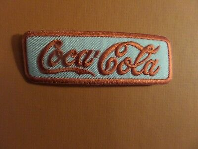 COCA COLA red & silver   Embroidered 1-3/8 x 4 Iron On Patch