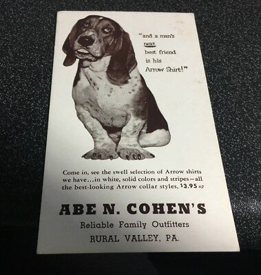 Vtg Ad Blotter - Arrow Shirts - Abe Cohens Family Outfitters, Rural Valley, Pa