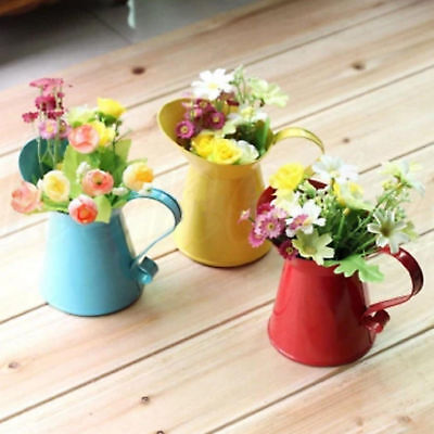 Shabby Chic Tin Pitcher Vase Jug Dried Flowers Wedding Home Party Decoration New