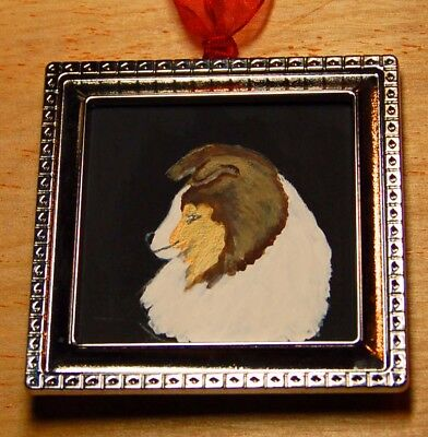 Sheltie Hand Painted Ornament Picture Frame~ New~ Ooak