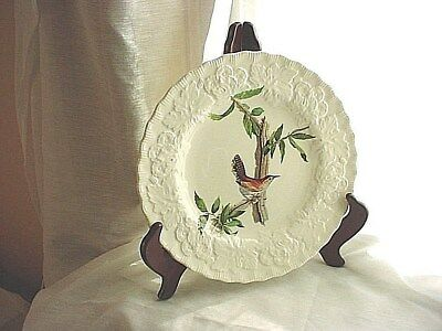 Alfred Meakin Plate Audubon Bewicks Wren 8 inch With Wooden Stand no 18 Vtg