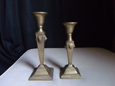 Pair 2 Solid Brass Candlesticks Lions Head Art Deco Taper Candle Holders Vintage