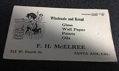 Vtg Ad Blotter - F.h. Mcelree, Santa Ana, Ca - Glass, Wall Paper, Paints, Oils
