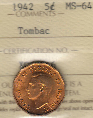 Canada  Five Cents 1942  Tombac  ICCS-Certified   MS-64