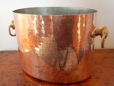 Williams Sonoma Mauviel Hammered Copper Double Wine Ice Bucket Cooler France