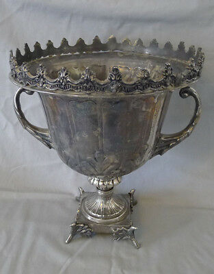 Antique Victorian Magnificent Large Metal Cup Trophy on Foot