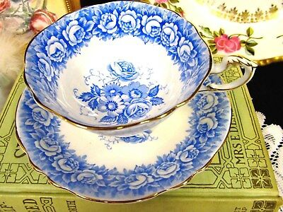 Paragon Tea Cup And Saucer Set  Blue Roses Band Teacup Wide Mouth