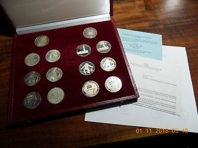 1976 Austrian Winter Olympic Games 14-Piece Silver Proof & Unc Coin Set w/ COA