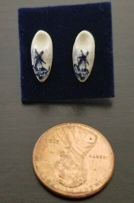 1930s Vintage Holland Delft Hand Painted Blue Windmill Porcelain Shoe Earrings