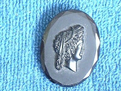 Antique Beveled Edge Black Glass Cameo Brooch of a Classical Woman Facing Right