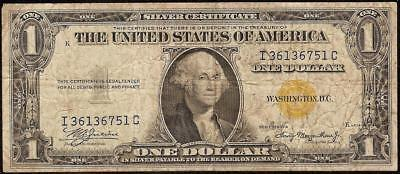 1935A $1 Dollar Bill Silver Certificate Wwii Ww2 Currency Yellow Gold Seal Note