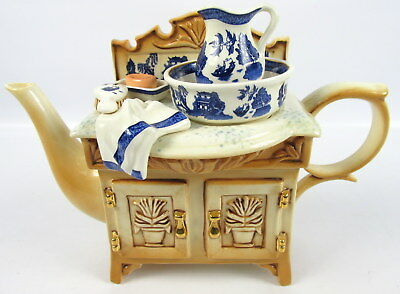 Cardew Blue Teapot Old Willow Wash Stand