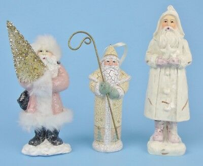Lot of 3 BELSNICKLE CHRISTMAS ORNAMENTS Pink & White  Santas