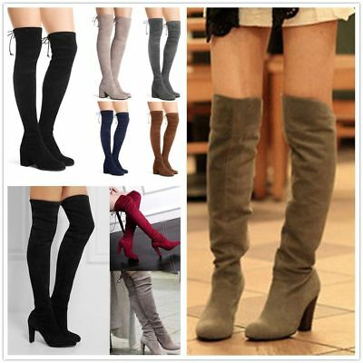Womens Thigh High Boots Ladies Lace Up Over The Knee Party Block High Heel Shoes