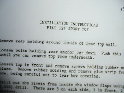Fiat 124 Spider Convertible Top Installation Instructions 1969-1985