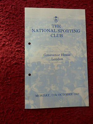 Boxing Programme- National Sporting Club-1988-Smith V Angol