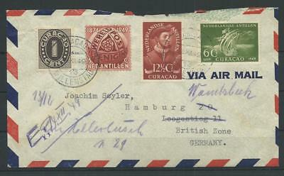 Curacao Luftpost-Brief nach Hamburg, 1949 (55987