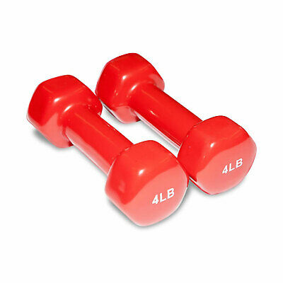 NEW Cortex Red Vinyl Dumbbell Pair 4lb / 1.8kg Weights Fitness Free Postage