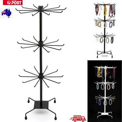 3 Tier Spinner Rotating Revolving Counter Display Stand  removable  30 Hooks AU