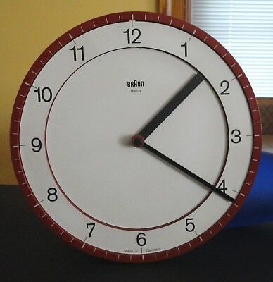 Retro Midcentury Modern Red Braun Model 4861 Germany ABK 30 Wall Clock Rans Lub