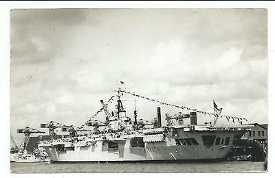 """SHIPPING - Royal Navy Aircraft Carrier """"H.M.S. GLORY"""" Real Photograph Postcard"""