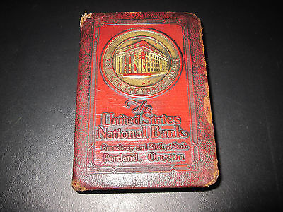Vintage Leather Covered Book Bank From The U.S. Bank Of Portland, OR. - No Key