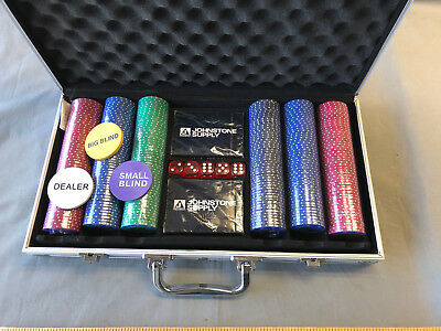 Johnstone Supply NEW Poker Chip Set 300 Clay Aluminum Case Pro Casino Chips Dice