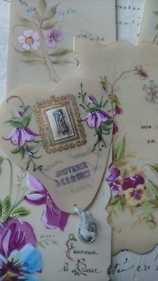 6 BEAUTIFUL HAND PAINTED ANTIQUE FRENCH PRAYER CARDS ON VELLUM LATE 1800s