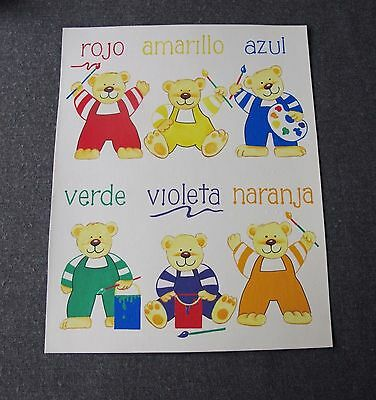 Vintage Teddy Bears Colors In Spanish One Of A Kind Hand Painted Watercolor