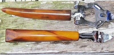 Lot of 2 Vintage Bottle Openers with Amber Tone Bone Style Handles Old Barware