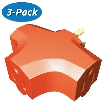 3 Pack: Stanley Grounded 3-Outlet Adapter 30304 Heavy Duty Triangle Tap - Orange