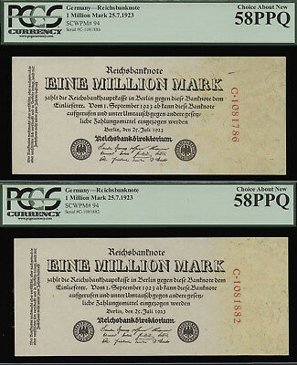 Tt Pk 94 1923 Germany 1 Million Mark Pcgs 58 Ppq Choice About New Set Of 2 Notes