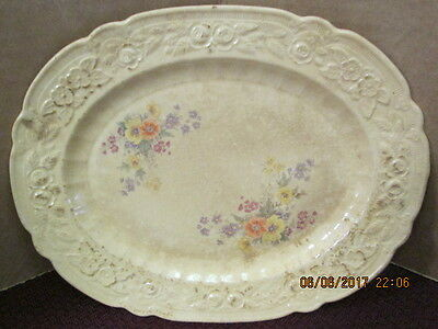 """Vintage Mid Century Homer Laughlin 10"""" Oval Plate Kitschy Floral Motif"""